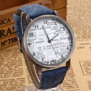 Denim Wrist Watch with Newspaper Designed Dial for Men And Women-2