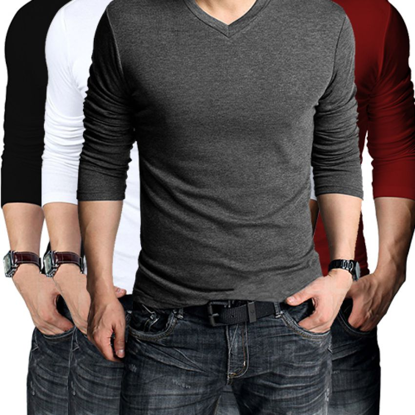 56dafdd81bd6 HomeClothingT-Shirts Pack Of 4 Long Sleeve V-Neck T-Shirts for Men
