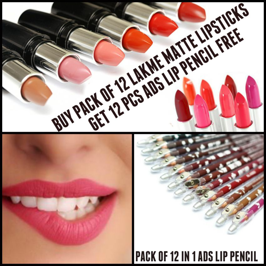 12 Lakme Matte Lipsticks & 12 ADS Lip Pencil