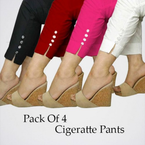 Pack Of 4 Cotton Cigarette Pants For Women in Pakistan