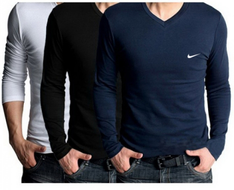 8c9eb9ec Buy Pack Of 3 Full Sleeve Nike V Neck T Shirts Bundle in Pakistan ...