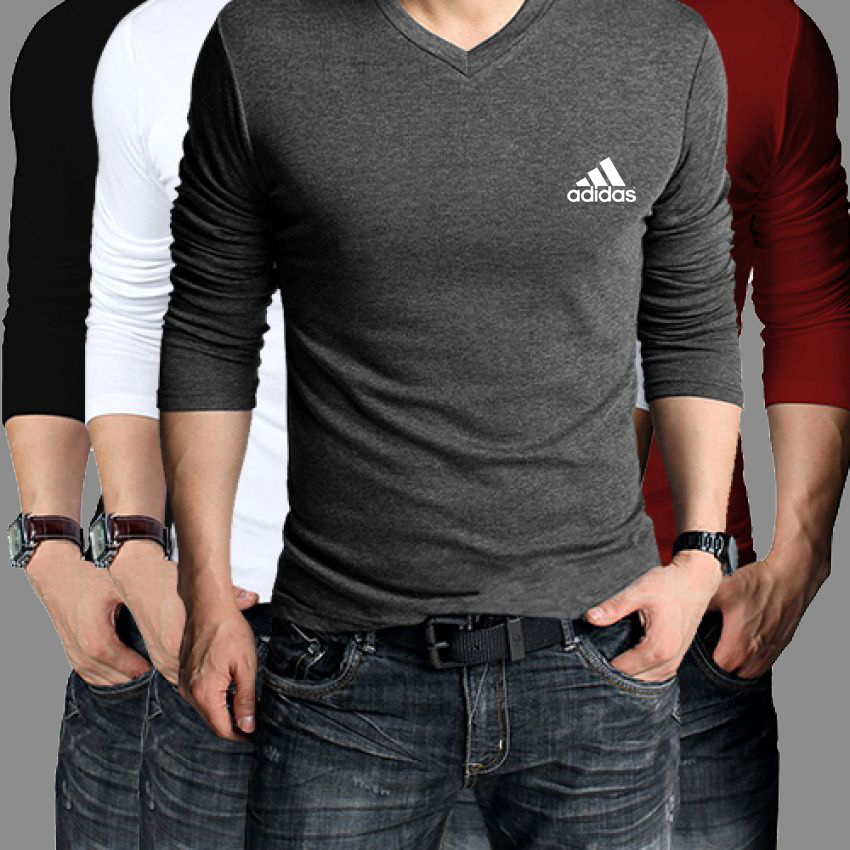 3c3ce88f9084 Buy Pack Of 4 Adidas Full Sleeve V-Neck T-Shirt in Pakistan