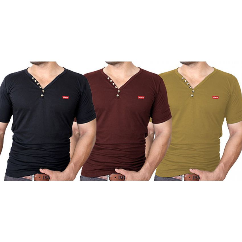 9aa46cfa Buy Pack Of 3 Levi's Button Designer V-Neck T-Shirts in Pakistan ...