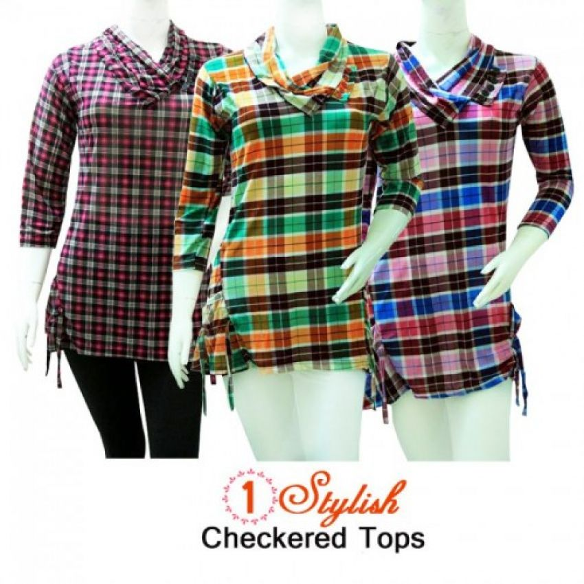 Buy Bundle Deal Three Stylish Checkered Womens Top in Pakistan ... 47d832c0d