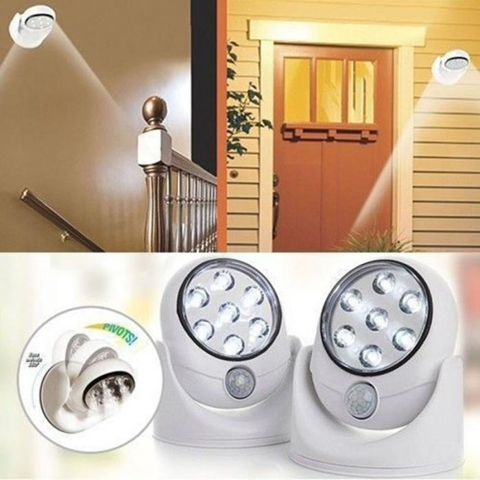 360 Degree Rotation Wireless Motion Sensor 7 LED Security Safety Light